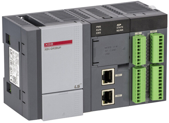 LS ELECTRIC (XEC) - 16x DI 24VDC, 12x DQ(R), HSC, Comms 2x Ethernet, RS-232 & RS-485, Supply Voltage 24VDC, PLC